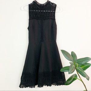 NWT Francescas | black lace high neck dress XS